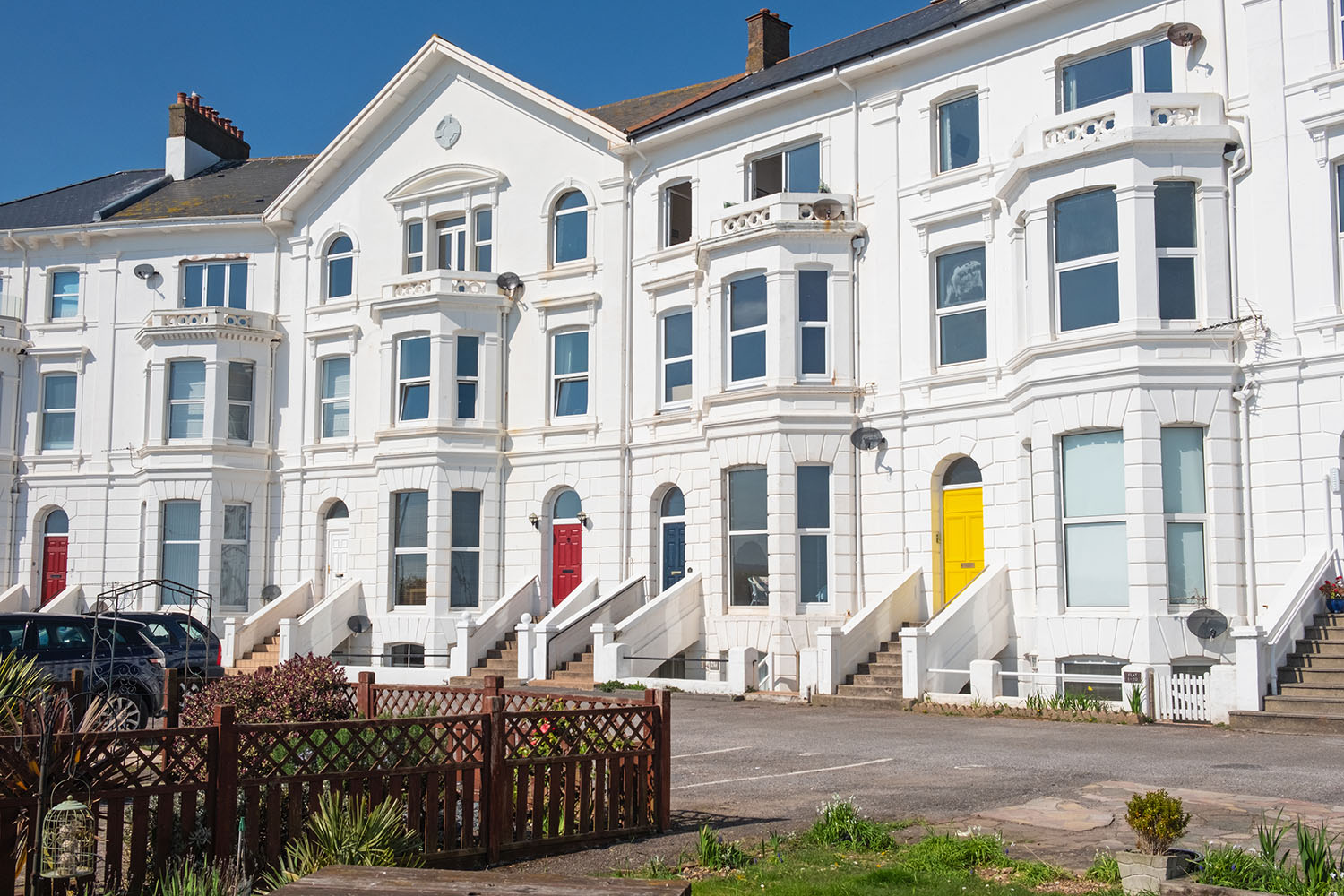 Typical seaside terraced housing in southern England